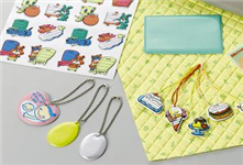 Examples showing the use of Nippi V Form Key rings, seal mats, quilt products